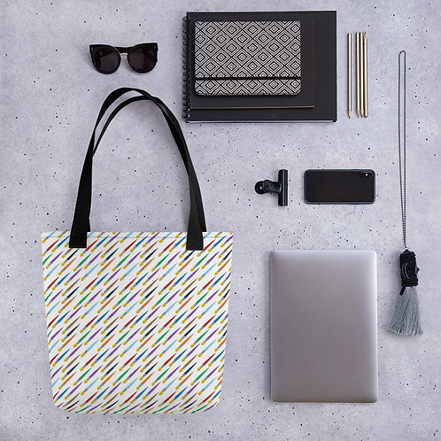 Tote bag paintbrush pattern shopping handbag