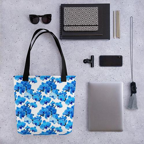 Tote bag blue flower pattern shopping handbag