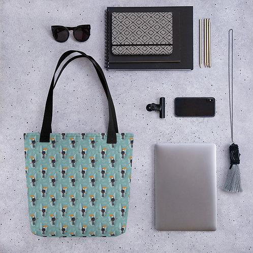 Tote bag blue toucan shopping handbag