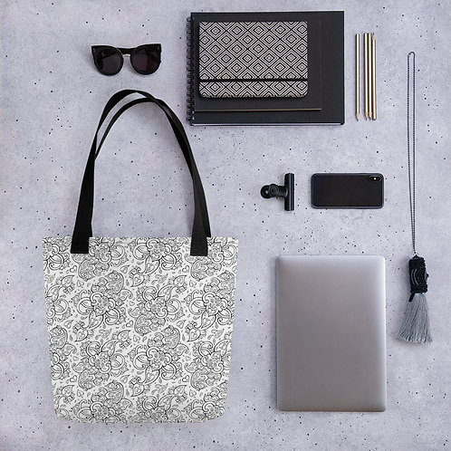 Tote bag black pattern shopping handbag