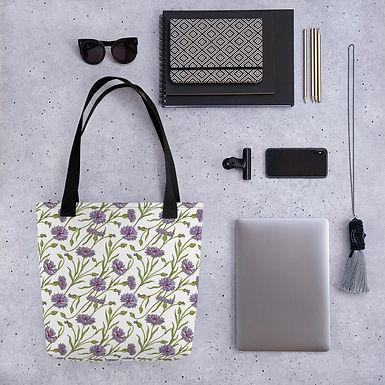 Tote bag purple flower shopping handbag