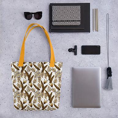 Tote bag pattern brown fern flower