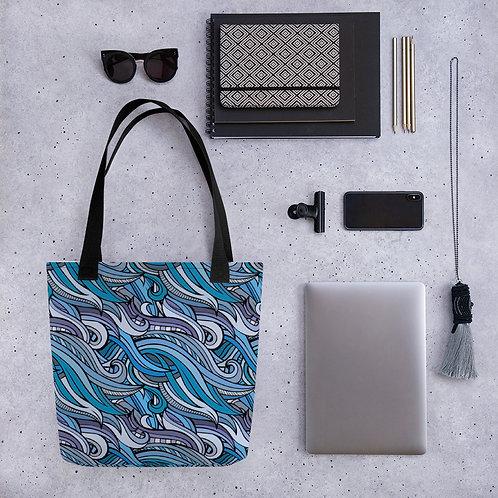 Tote bag pattern blue waves handbag
