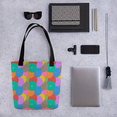 Tote bag circles pattern shopping handbag