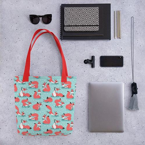 Tote bag fox pattern shopping handbag