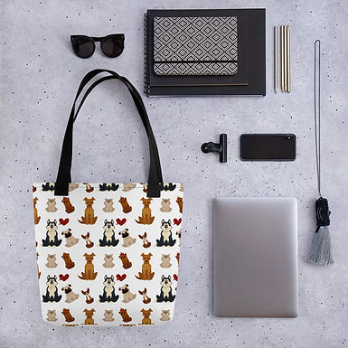 Tote bag puppy pattern shopping handbag