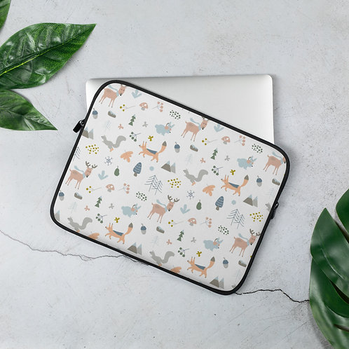 Laptop Sleeve 13in and 15in Forest Animals