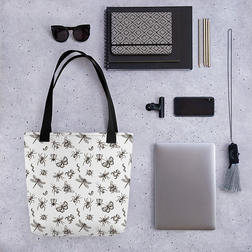 Tote bag pattern creepy crawly bugs handbag