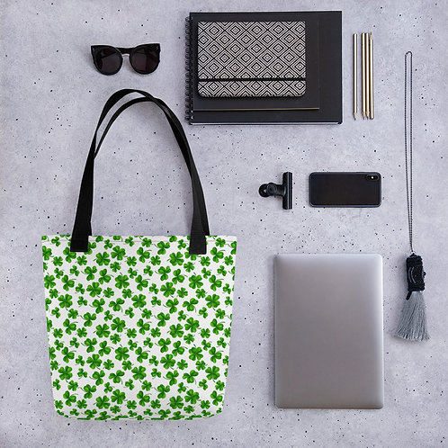 Tote bag pattern green shamrock clover handbag