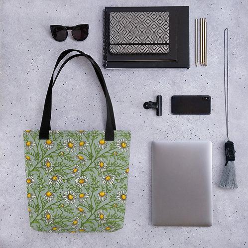 Tote bag green daisy shopping handbag