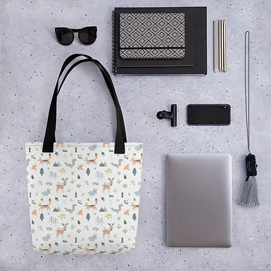 Tote bag forrest snow pattern shopping handbag