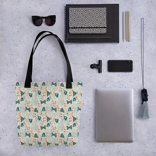 Tote bag butterfly flower on green pattern shopping handbag