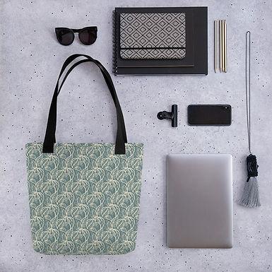 Tote bag leaf on green pattern shopping handbag