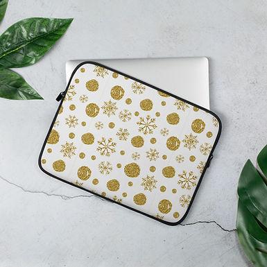 Laptop Sleeve 13 inch & 15 inch Gold Snow Chrismas