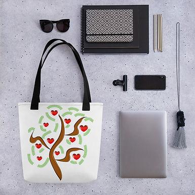 Tote bag pattern love heart tree handbag