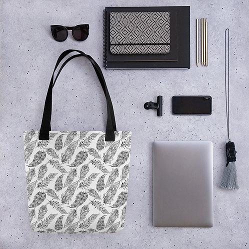 Tote bag pattern black leaf leaves