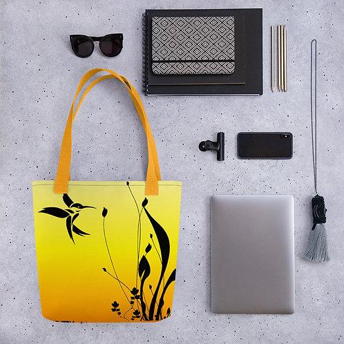 Tote bag hummingbird yellow pattern shopping handbag
