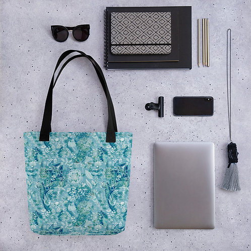 Tote bag blue jungle pattern shopping handbag