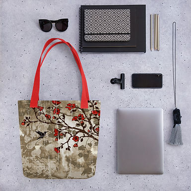 Tote bag hummingbird brown pattern shopping handbag