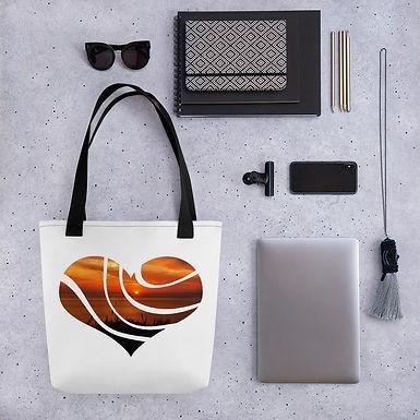 Sunset Love Heart Swirl pattern shopping handbag