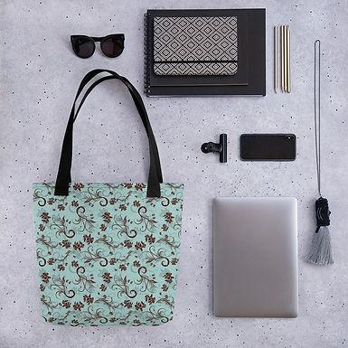 Tote bag red flower on blue shopping handbag