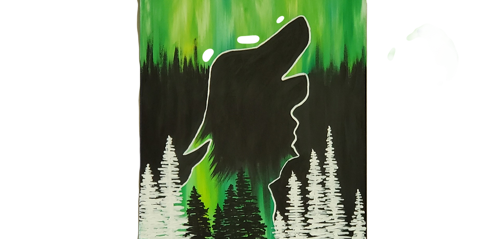 Paint Night Howling Wolf