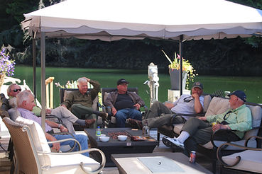 Legacy Lodge guests relaxing after a day of salmon fishing
