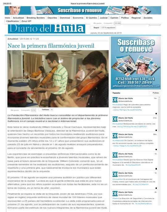 2015 Jul - Youth Huila Philharmonic - Di