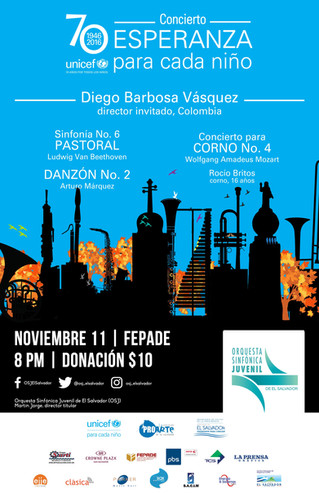 Diego Barbosa-Vasquez the Colombian who conducts concert in El Salvador in homage to the 70 years of