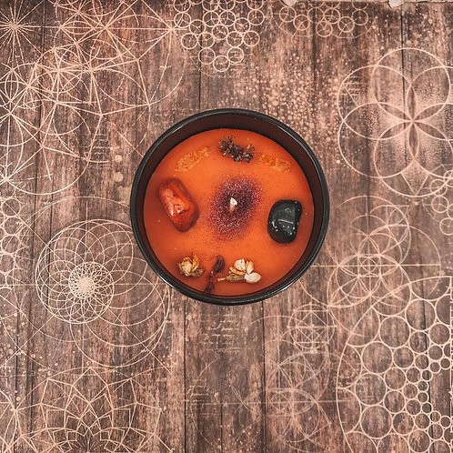 Gingerbread or Pumpkin Spice with Orange Carnelian & Snowflake Obsidian