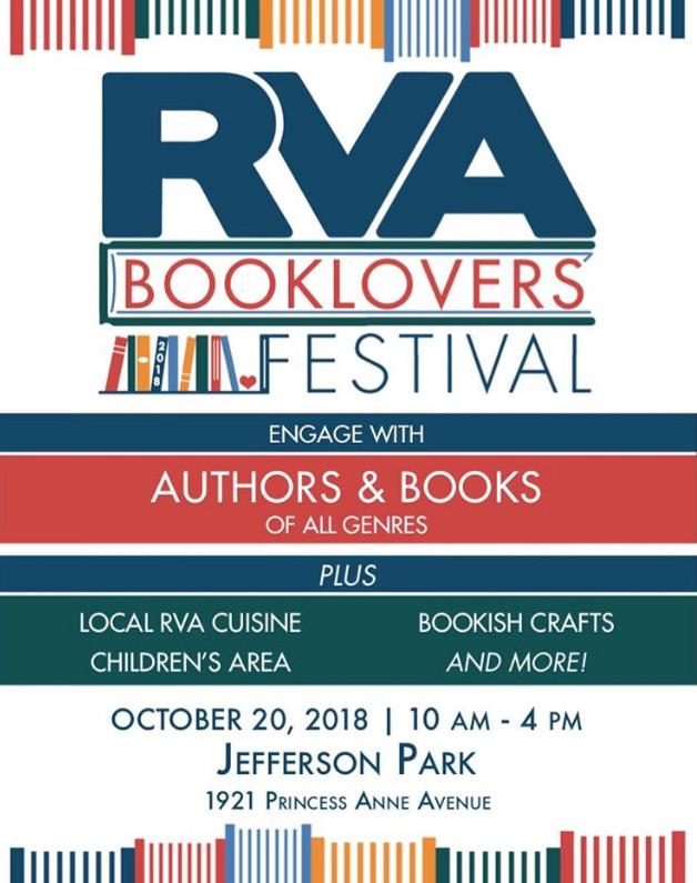 RVA Booklovers' Festival, Saturday, October 20th