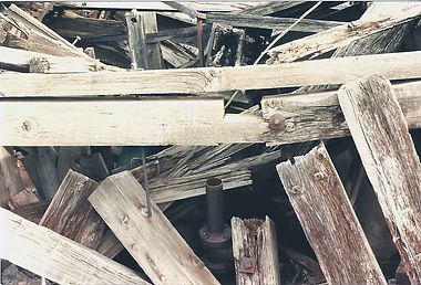 A jumble mass of timber at the collar of the Powell shaft.