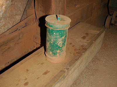 Spitter can at the Southwest shaft station Queen Mine Tour