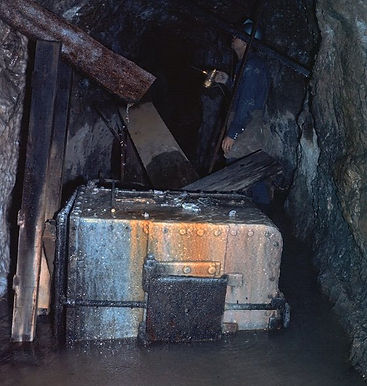 Truax mine car tub coated with postmining calcite inside the Higgins mine