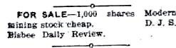 Ad for stock in the  Modern Mine 1903