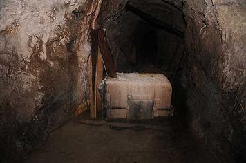 mine car tub coated in post-mining calcite/aragonite