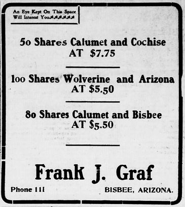Ad for shares in Calumet & Bisbee Development Company