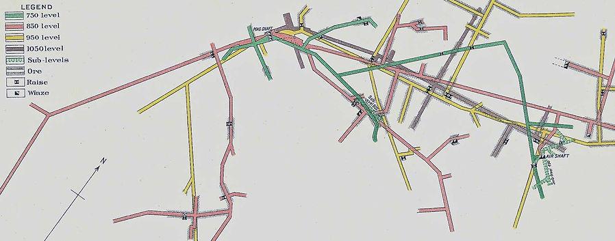 Map showing the location of the   Irish Mag air shaft Bisbee Arizona