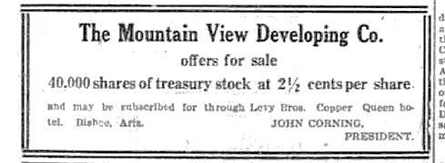 Ad for stock in the Mountain View Development Company