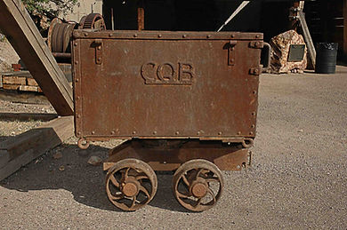 Calumet & Arizona Style car used in the Mucking contest in Bisbee.  Later, the CQB lettering was added and stands for Copper Queen Branch.