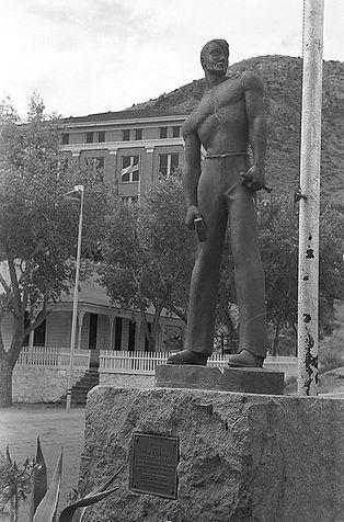 Iron man  statue of miner drilling  Bisbee, Az