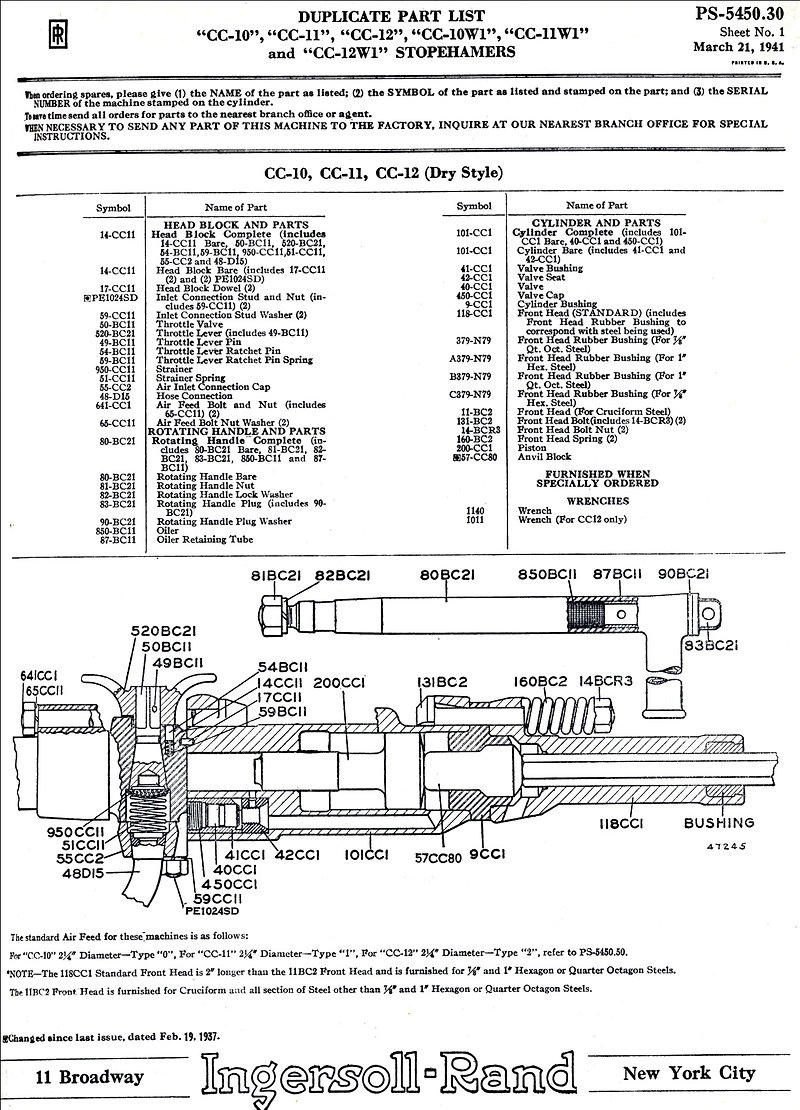 Parts list for cc-11 Ingersoll Rand stoper
