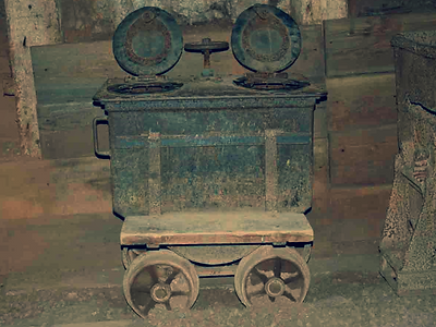 Sanitary car inside the Queen mine tour