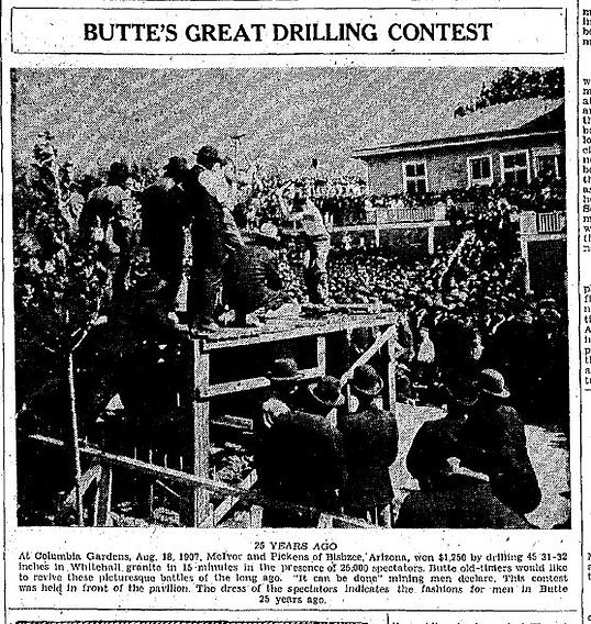 The 1907 Butte Montana drilling contest won by Melvor and Pickens  of Bisbee, Arizona