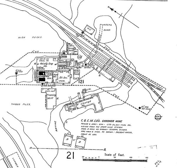 Plan of the Gardner Mine site Bisbee Arizona