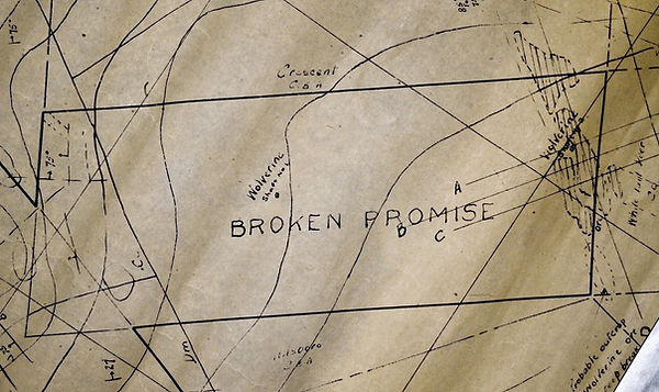 Map showing the Broken Promise claim in Bisbee, Arizona