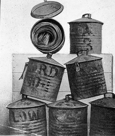 Stack of  fuse cans used in the Sacramento Pit circa 1920's