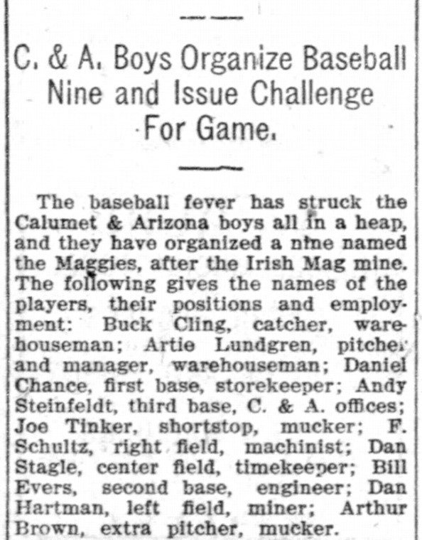 Bisbee Daily Review April 26, 1908 Baseball