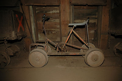 Boss's bike underground in the Queen Mine Bisbee, Arizona