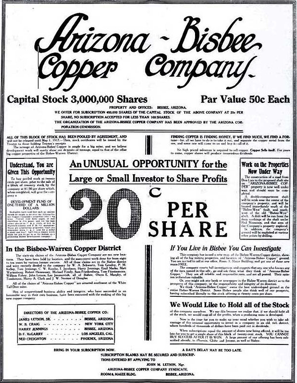 Ad for shares in Arizona-Bisbee Copper Company
